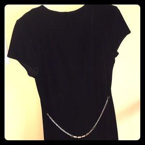 Juniors Long Black Velvet Dress